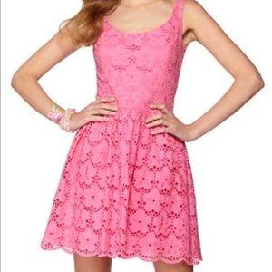 Pink lace eyelet Lilly Pulitzer Calhoun dress sz 6